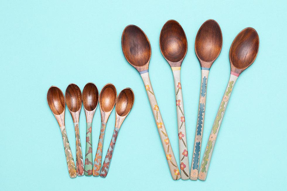 (左から) 小田伊織X桂川美帆 PATTERN spoon (小) / PATTERN spoon (大)