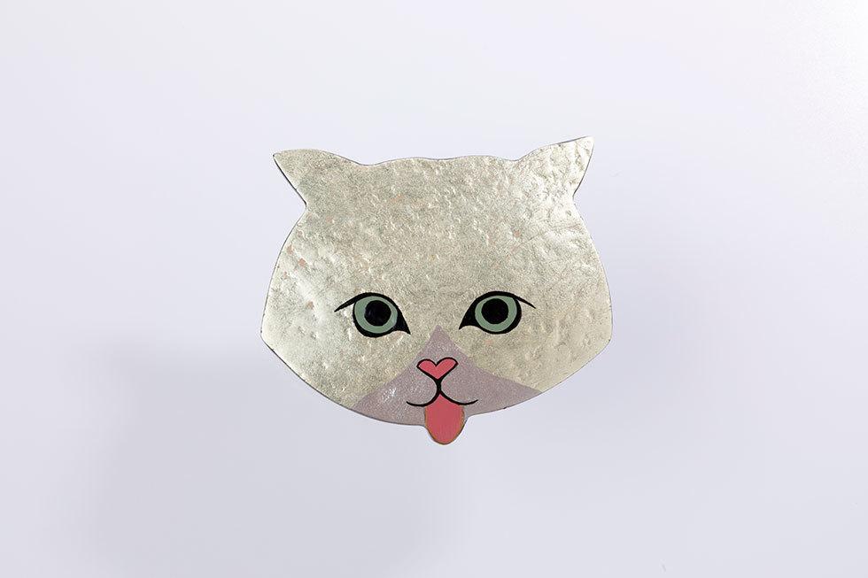 猫ブローチ 金