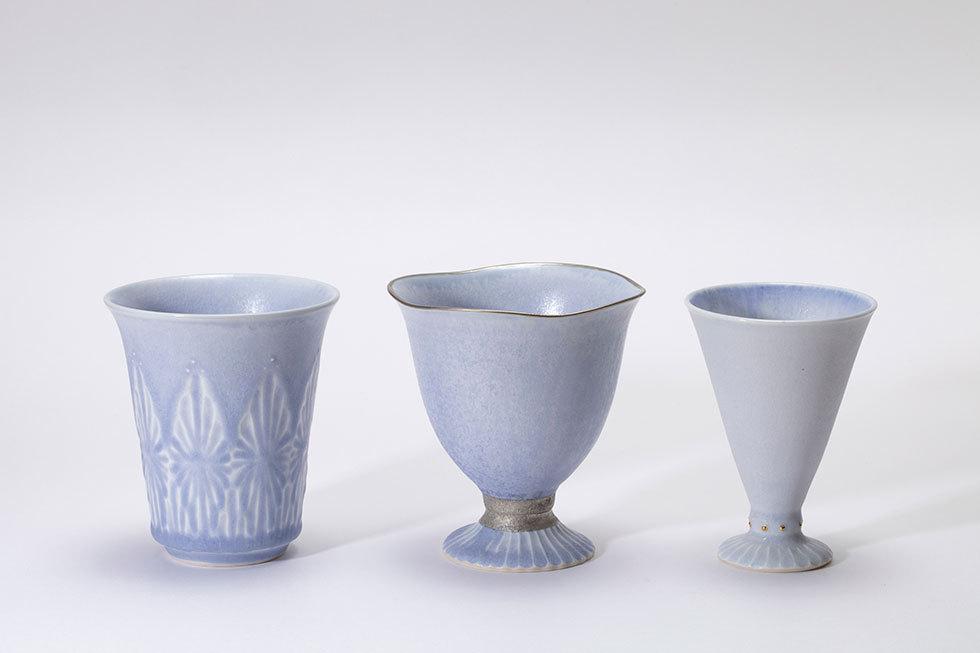 (左から) タンブラー -冬霞- / ゴブレット -海霧- / 酒杯 -霧氷-