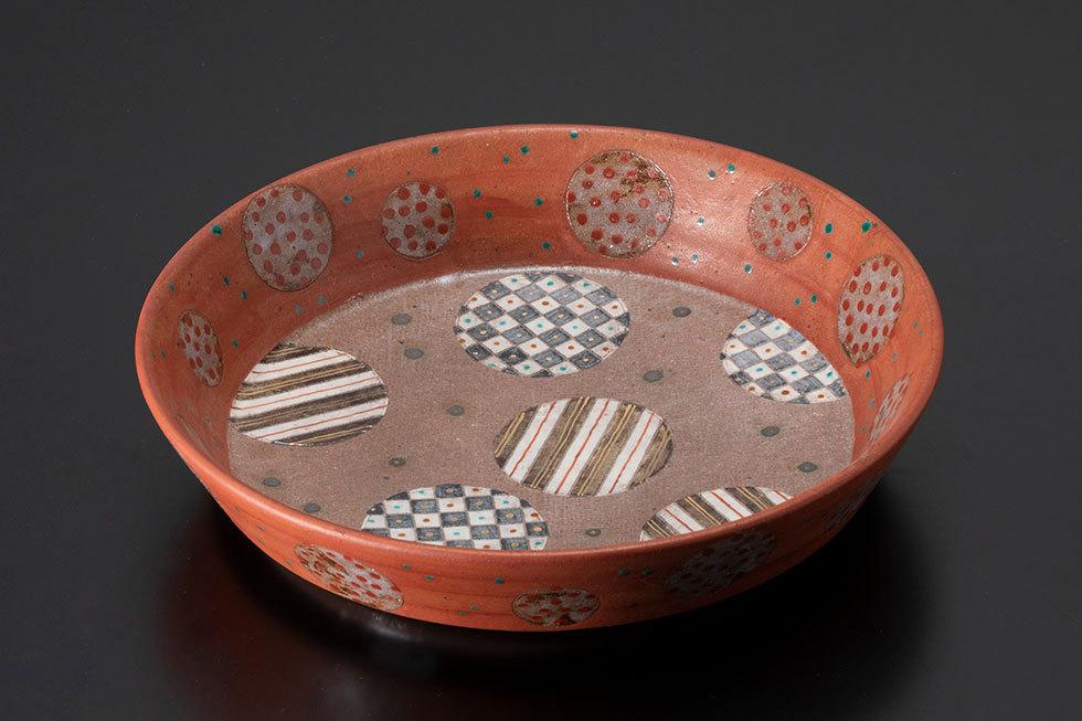 赤絵金彩「雅文」平鉢