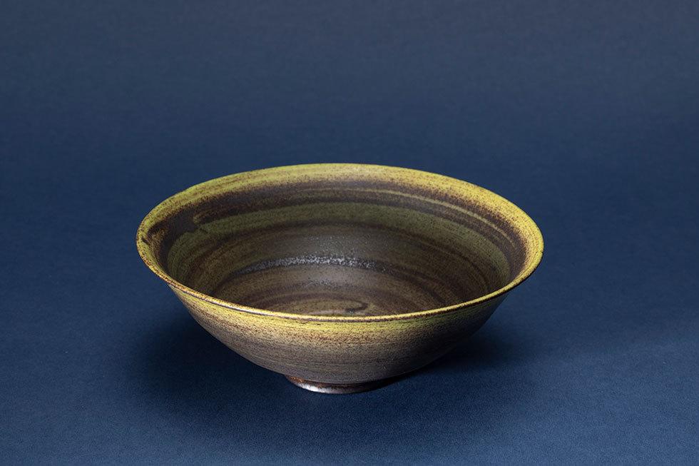釉彩 華茶碗(墨風)