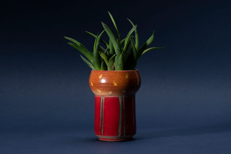 色絵銀彩植木鉢
