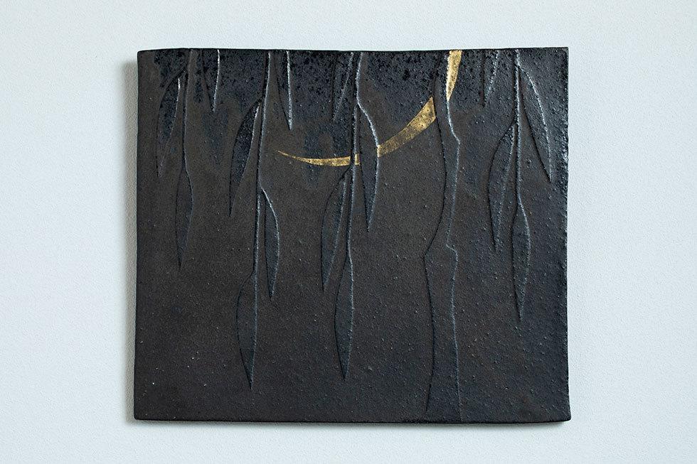 陶板「月に柳」