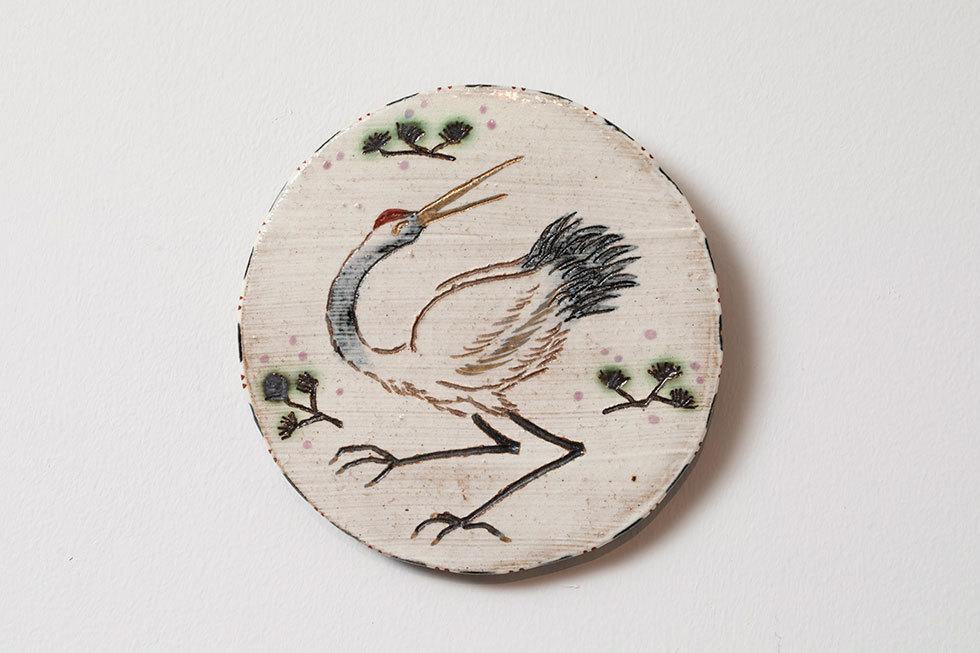陶板「鶴と松」