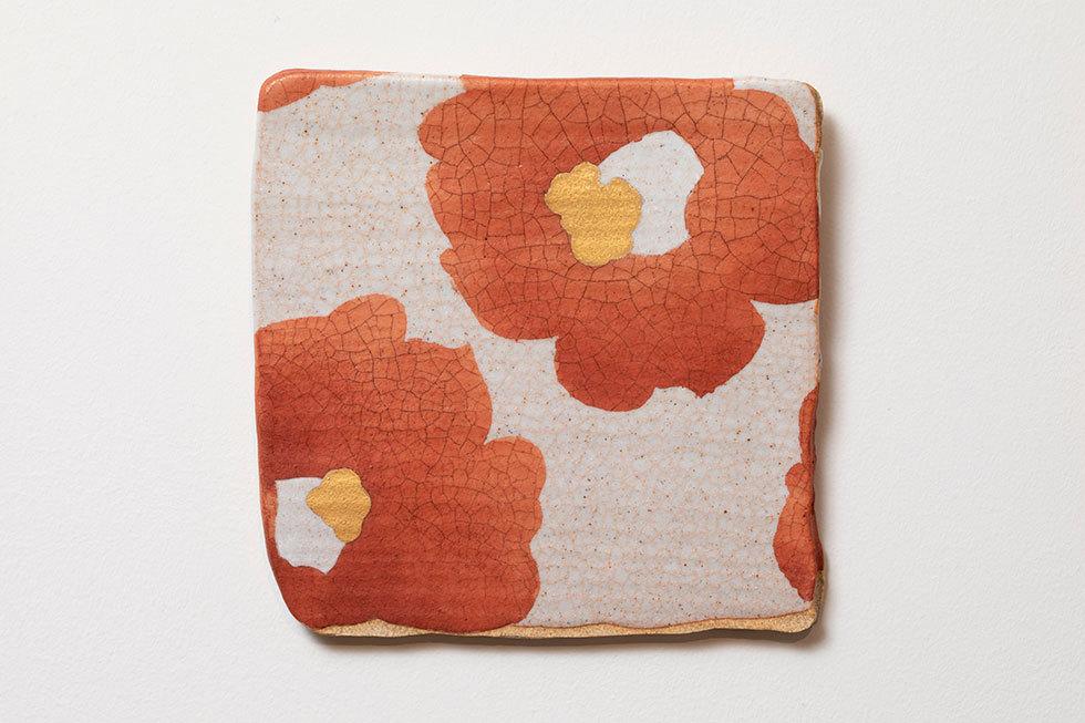 小陶板「椿」