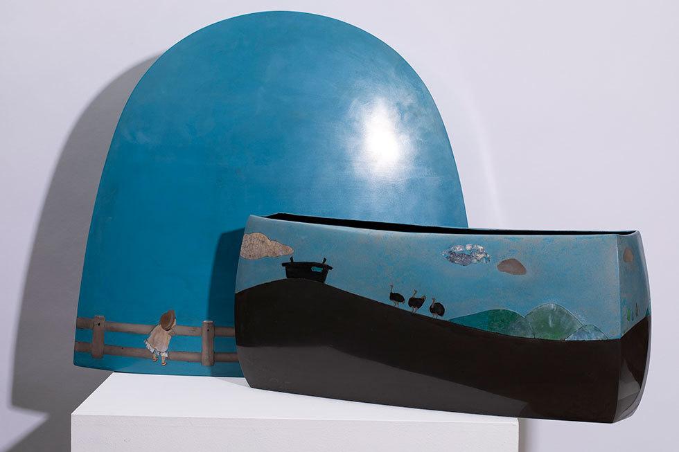 乾漆蒔絵飾箱「駝鳥」
