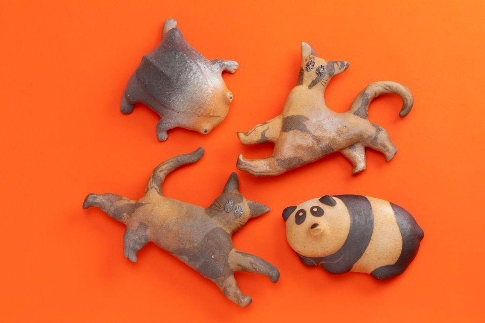 (左上)シリグロカエル / (右上)ニケネコ /  (右下)パン助 / (左下)ニケネコ