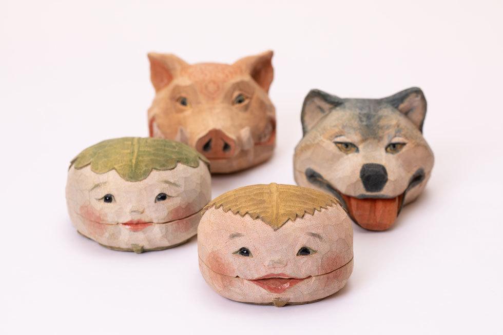 猪の香合・狼の香合・桜餅の香合・柏餅の香合