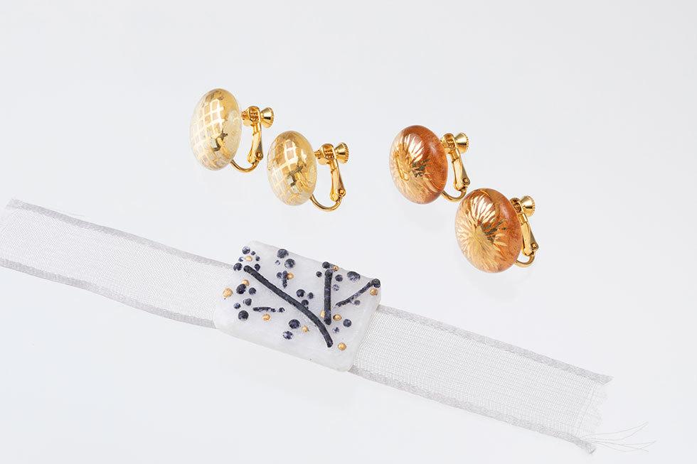 glass earrings-#-・glass earrings-*-・硝子帯留め-南天-